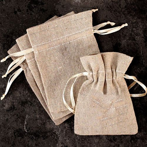 Mini Linen Drawstring Pouch (Pack of 12)
