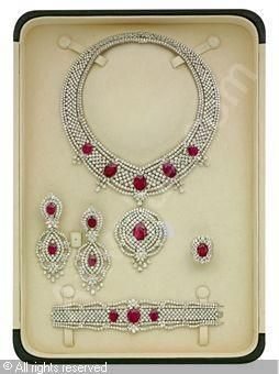 : Set of 6: Ruby and diamond, rubies stated to weigh a total of 130.42 carats, diamonds stated to weigh a total of 201.00 carats