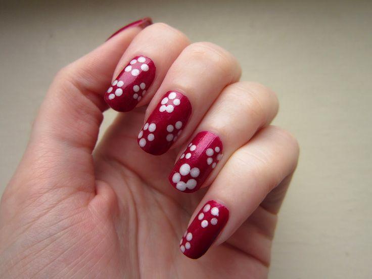 flower, nail art tutorial, red, white