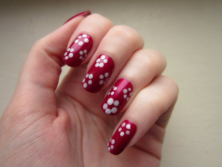 flower, nail art tutorial, red, white