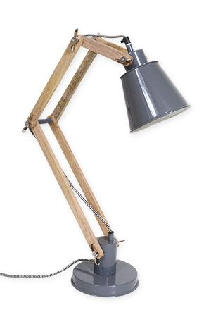 Desk Lamp Two Arm Timber - Charcoal