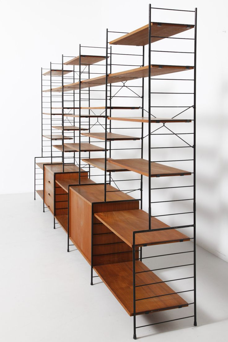 Anonymous; Teak and Enameled Metal 'String' Style Shelving, 1960s.