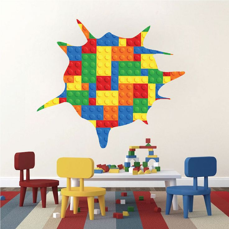 Toy Splatter Kids Wallpaper Decals   Lego Wall Decals   Play Room Wall  Stickers   Wall