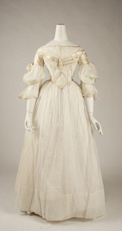 Silk Trimmed Cotton Evening Dress, ca. 1840 via The Met