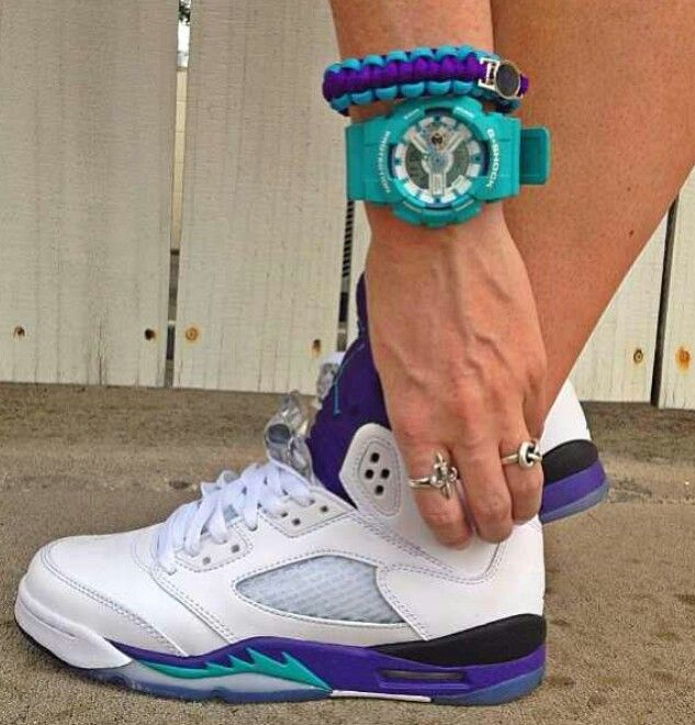 Jordan 5 white grapes teal watch and purple and blue bracelet