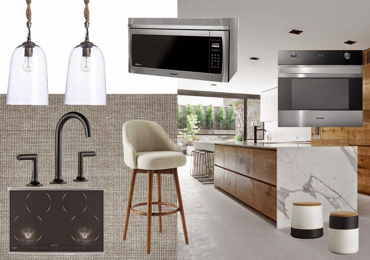 Modern black white wood kitchen moodboard with Panasonic