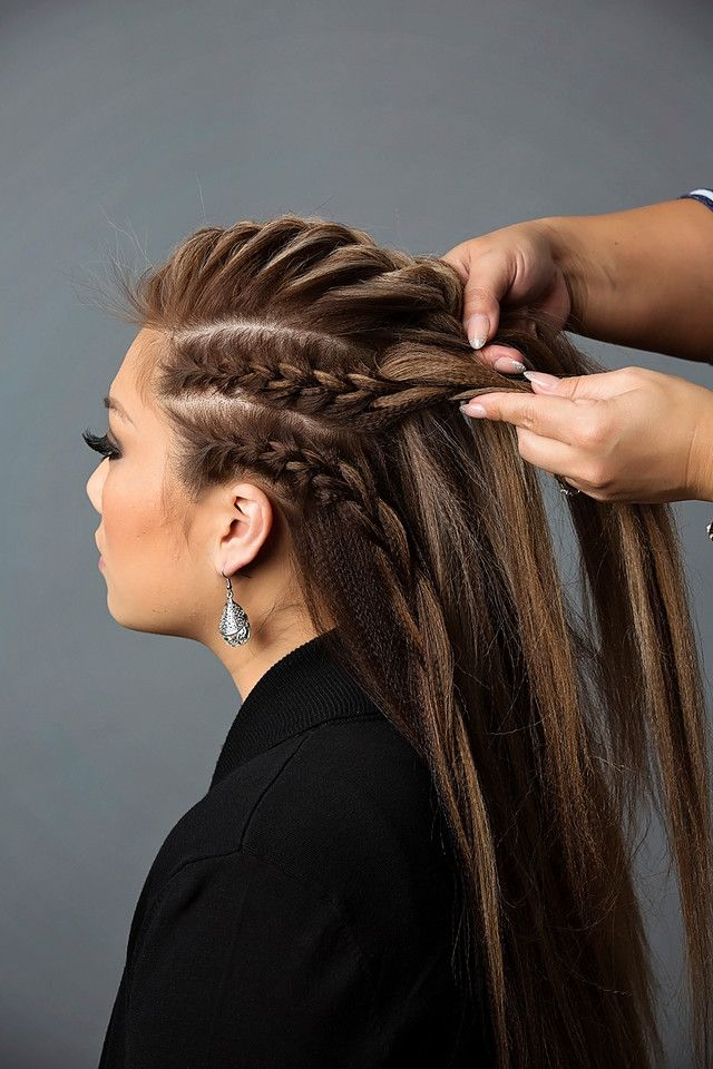 Add the French braids on the sides to the French braid on top and combine the…
