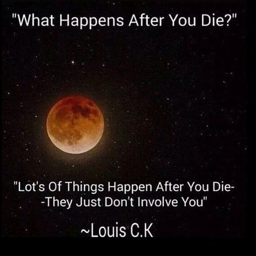 Lot's of things happen after you die - they just don't involve you ~ Louis C.K.