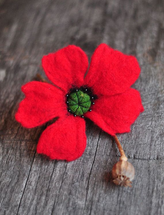 POPPY felted brooch  hand made  flower woman by dagmarabuczek