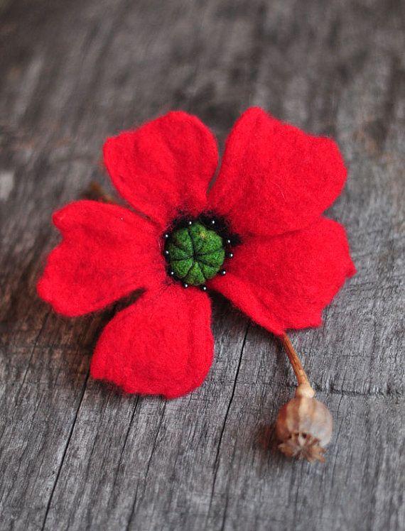POPPY felted brooch  hand made  flower woman by dagmarabuczek