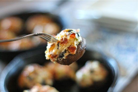 Pizza Stuffed Mushrooms fork