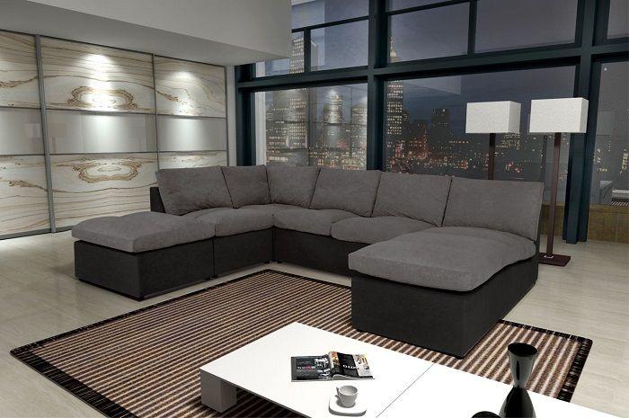 Modern Sofa Canapé Avanti 8 places modulable pas cher gris/noir Canapé d'angle prix Canapé Rue du Commerce 449.99 €