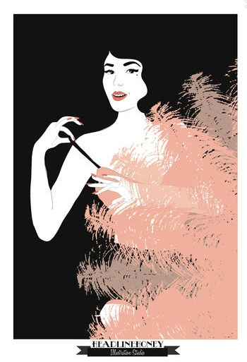 """Headline Honey takes inspiration from the 1930s-1950s era and burlesque scene, drawing """"a lot of high heels, stockings and vintage glamour"""".  She work on commissioned projects and consult in fashion design and product development: Drawing"""