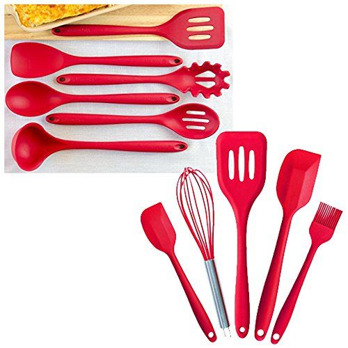 """StarPack Value Bundle - Premium 6-Pc XL Silicone Kitchen Utensils (13.5"""") and Premium 5-Pc Silicone Kitchen Utensils (10.6"""") - Cherry Red. For product & price info go to:  https://all4hiking.com/products/starpack-value-bundle-premium-6-pc-xl-silicone-kitchen-utensils-13-5-and-premium-5-pc-silicone-kitchen-utensils-10-6-cherry-red/"""