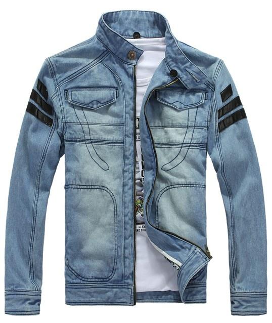 Men Light Blue Jean Zipper Long Sleeve Pockets Jacket S/M/L/XL/XXL@1408JK09
