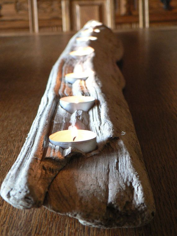 Rustic, driftwood 7  votive candle centerpiece, large mantle candle holder, driftwood art on Etsy, $55.00