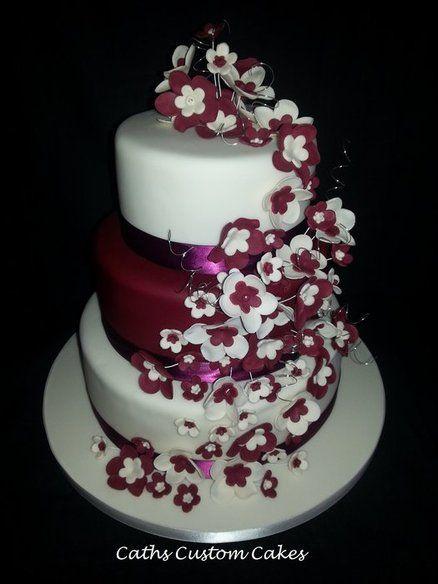 Burgundy And White Wedding Cakes Ivory Flowers Cake Top Bottom