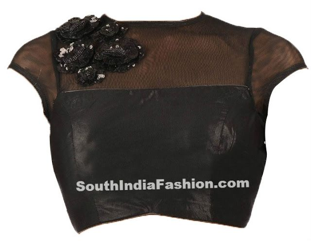 Stylish Black Net Blouse Celebrity Sarees, Designer Sarees, Bridal Sarees, Latest Blouse Designs 2014 South India Fashion