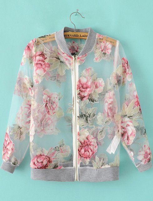 Grey Long Sleeve Floral Sheer Organza Jacket - Sheinside.com