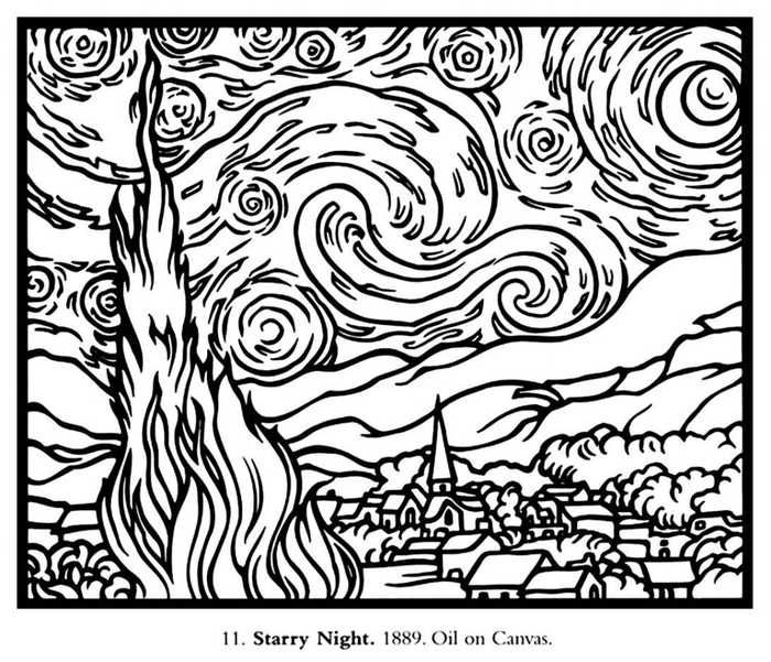 Van Gogh Coloring Pages Starry Night Van Gogh Van Gogh Coloring Van Gogh Art