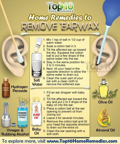 10 HOME Remedies to REMOVE EARWAX: 1) SALT Water 2) Hydrogen Peroxide 3) Baby Oil 4) VINEGAR + Rubbing Alcohol 5) WARM Water 6) OLIVE Oil 7) ALMOND Oil 8) Baking Soda 9) Glycerin 10) OMEGA-3 Fatty Acids <3 ;)*