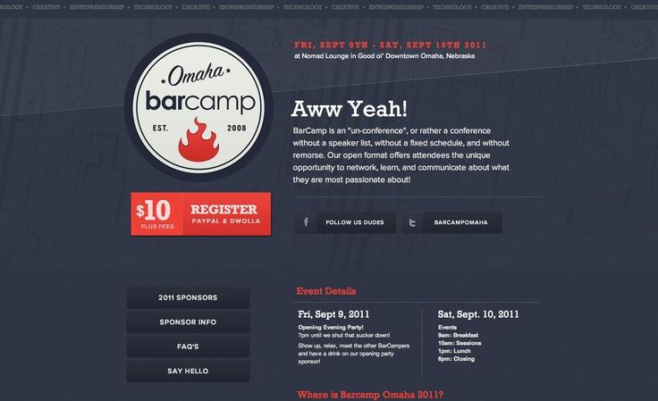 Omaha Bar Camp - http://barcampomaha.org/: Design Inspiration, Web Design, Barcamp Omaha, Camps Omaha, Designinspir View, Bar Camps, Backgrounds Image, Http Barcampomaha Org, Web Design Designinspir