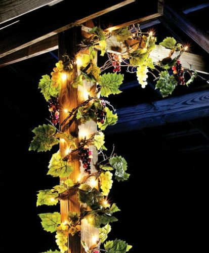 Lighted Grapes Vineyard Leaf Garland Indoor Outdoor Lights String Party Decor Holiday ...