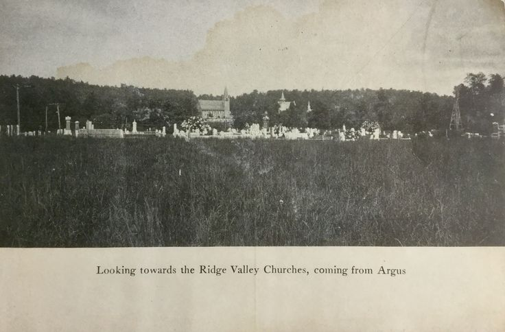 Ridge Valley Churches and School, from the Union Cemetery (Hetrick Cemetery).  Notice the vistas.  The churches can no longer be seen from this area, due to tree growth. I was told we have more tree cover now (2000+) then at the turn of the century. Most photos I study substantiate this claim.  There is what looks like a tall wooden frame structure in the cemetery to the right, I would love to know what it is.