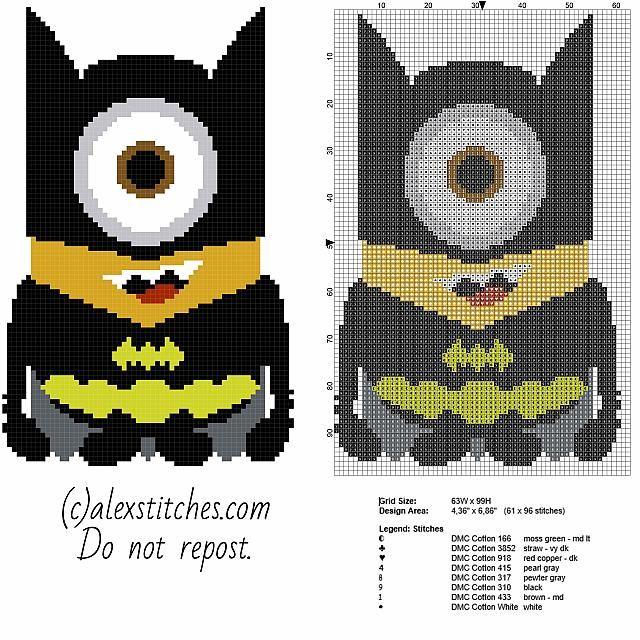 Minion Batman - Despicable Me free pattern (63x99)