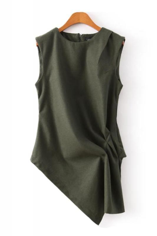 Dark Army Round Neck Irregular Vest