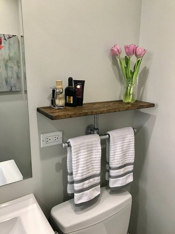 Double Hand Towel Holder With Extra Storage Shelf Can Be A Great Addition Above The Toilet Seat A Combin In 2020 Diy Bathroom Decor Rustic Towels Rustic Towel Rack
