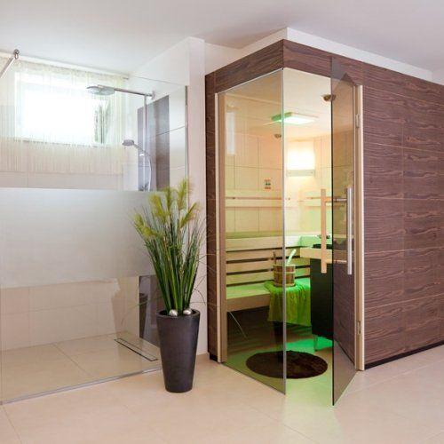 Sauna Mit Thera Med Infrarotstrahler Im Fitnessraum Im Keller Integriert.  Die Angrenzende Dusche Wurde