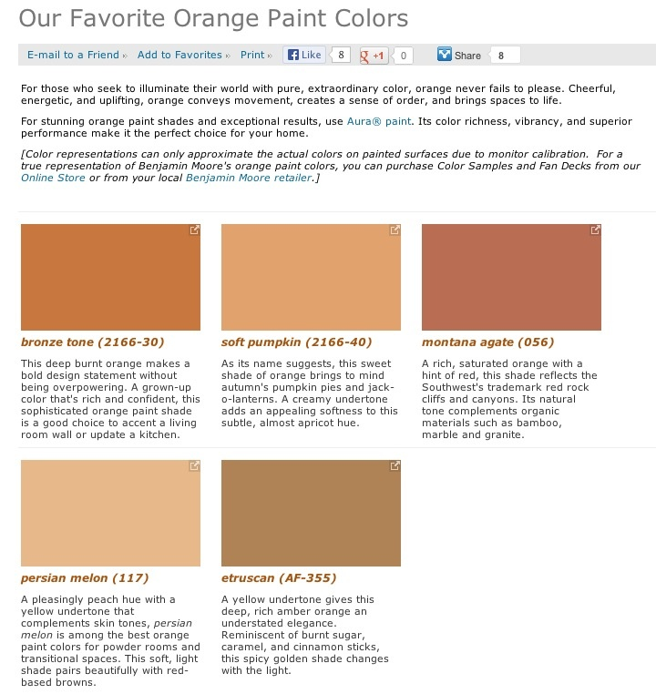 Favorite popular best selling shades of orange paint Popular kitchen paint colors benjamin moore
