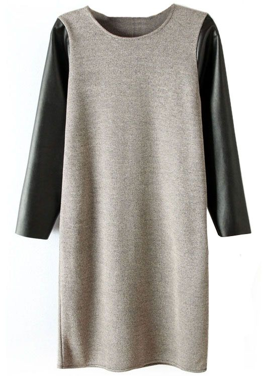 Grey Contrast Cotton + Leather Sleeve Dress