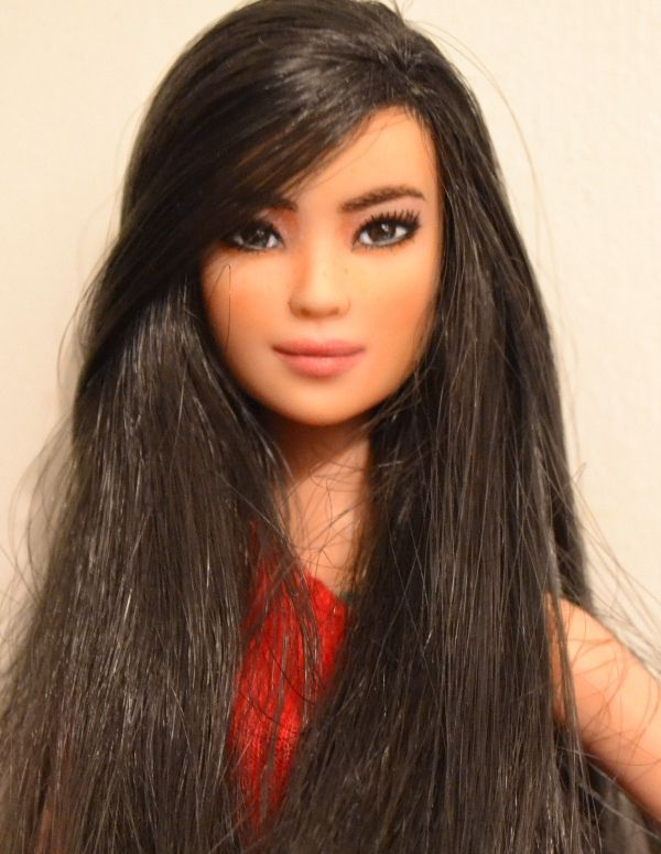 Machi- Asian Barbie Fashionistas Doll #3 OOAK Repaint by DollAnatomy.com