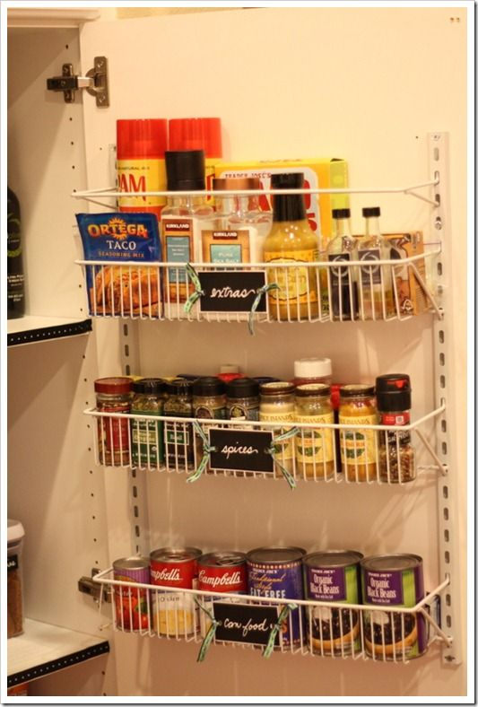wall/door storage ideas for the pantry.  Frees up shelving spaces and makes it easy to access ingredients!