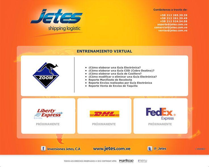 Proyecto concretado para EntrenamientosJ etes.  Este proyecto web fue desarrollado para Jetes Shipping Logistics con el fin de aclarar las dudas de los clientes con respecto a los diferentes procesos  que deben seguir para el retiro, envío  o ubicación de sus paquetes, para que sus usuarios puedan obtener de forma rápido y segura la información que requieran.