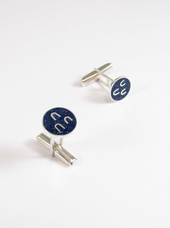 Sterling Silver Cufflinks Blue Circle Navy by maldonadojoyas