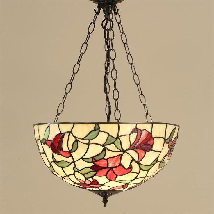 Lampada Tiffany a Sospensione Invertita, con fiori Rossi