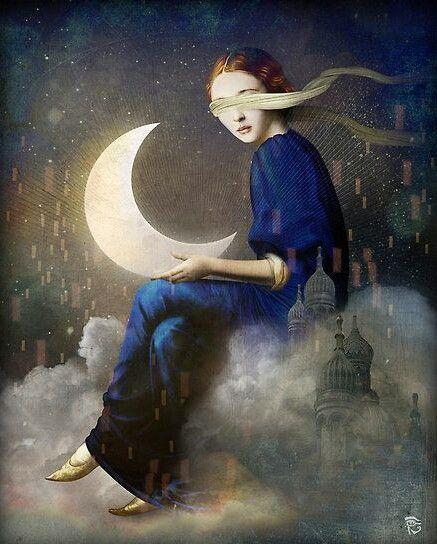Moon maiden attending to her inner light