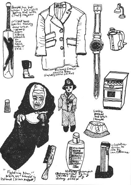 Michael Landy. Ideas: These were some of the objects Landy destroyed in his art piece Breakdown. He documented some of his personal belongings before the destruction through richly detailed observational drawings.