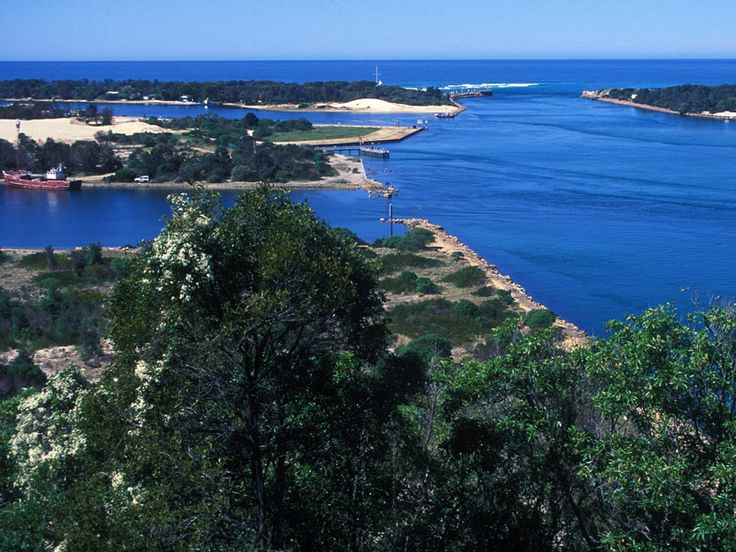 The entrance to the Gippsland Lakes at Lakes Entrance, Victoria, Australia