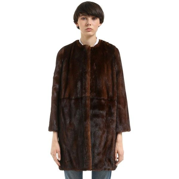 Simonetta Ravizza Women Mink Fur Coat ($7,965) ❤ liked on Polyvore featuring outerwear, coats, brown, fur-lined coats, mink coat, brown mink coat, mink fur coat and brown coat
