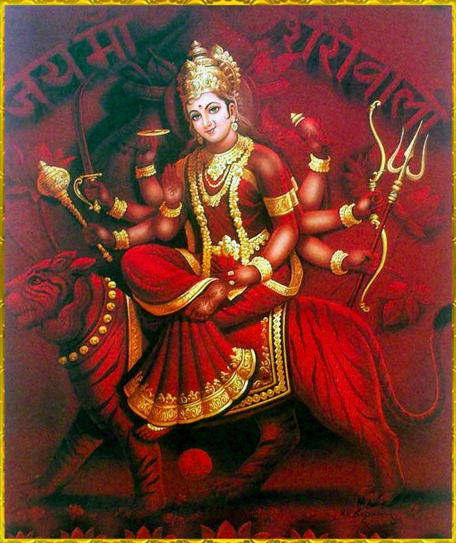 DURGA DEVI ॐ - She who was created as Independent and Complete within herself: gentle and fierce protector and warrior mother and vanquisher of fear. She brings courage and empowerment.