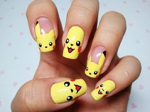 Pokemon pikachu inspired nail art
