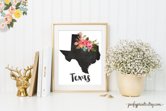 Chalkboard Texas Print, Watercolor Floral Texas Art, Home is Where the Heart Is Texas, Home Sweet Home Decor - INSTANT DOWNLOAD - 307