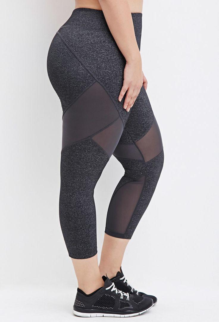 Plus Size Mesh-Paneled Capri Athletic Leggings | Forever 21 PLUS - 2000161305