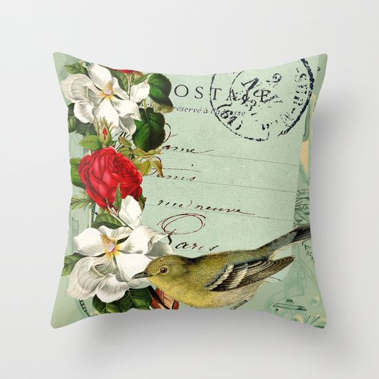 Postmark Paris Throw Pillow