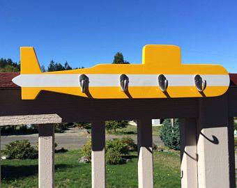 Two Tone Navy Submarine - Yellow - Wall Mounted Coat Rack, 4 Hooks, Nautical & Patriotic Wall Decor, Navy Sailor Gift, Navy Family Home