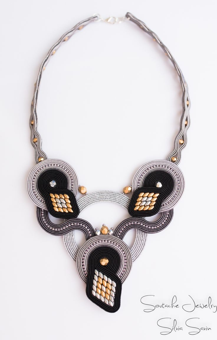 Black Gold and Shades of Grey Soutache necklace